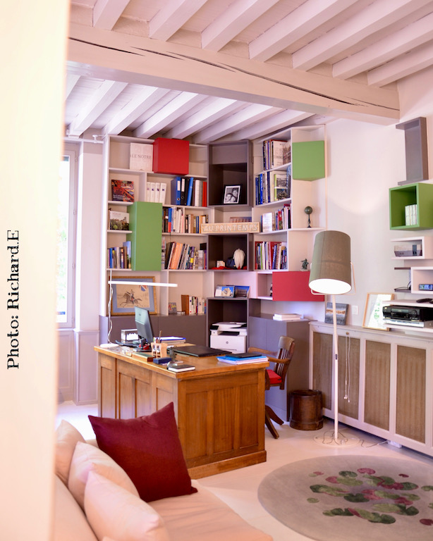 Bibliotheque contemporain sur mesure renovation maison morvan hannah elizabeth interior design