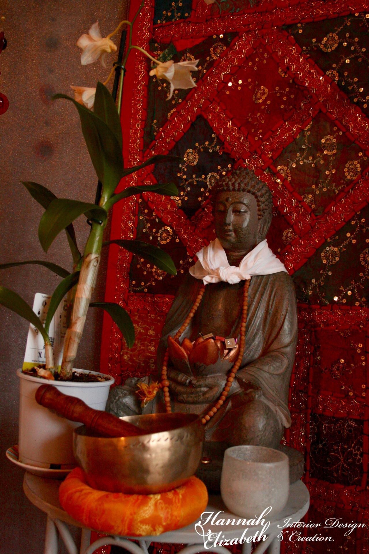Buddha tenture et orchide