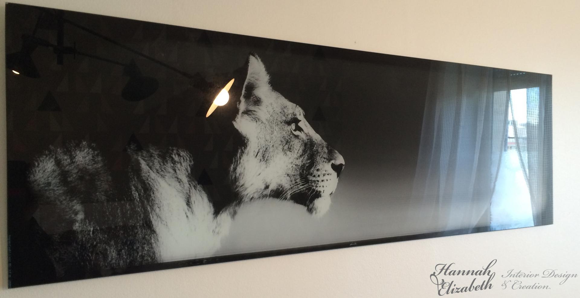 Cadre lionne noir et blanc