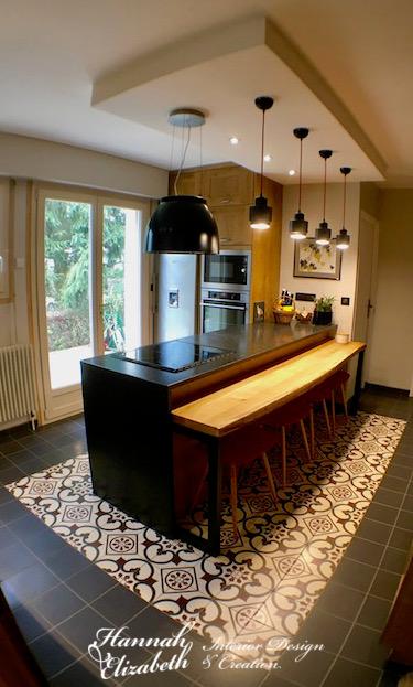 Carreaux ciment plan travail granite noir cuisine bois