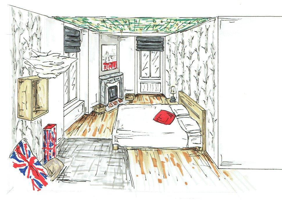 Chambre londres au naturel garcon croquis