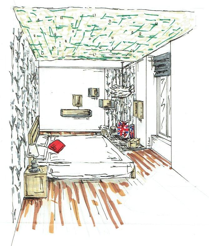 Chambre nature londres garcon croquis