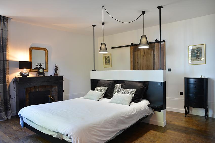 Chambre noir blanc bois