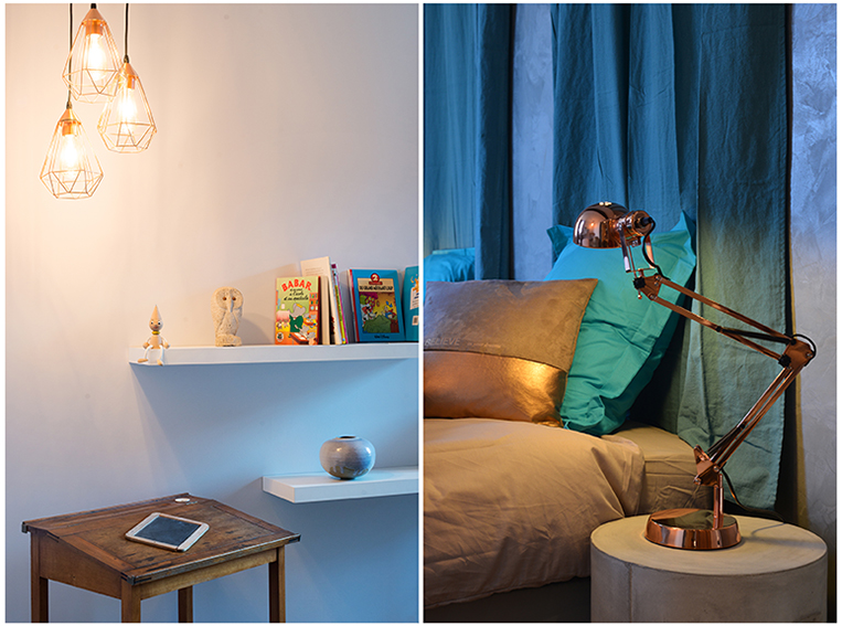 Chambre twin cuivre gris turquoise
