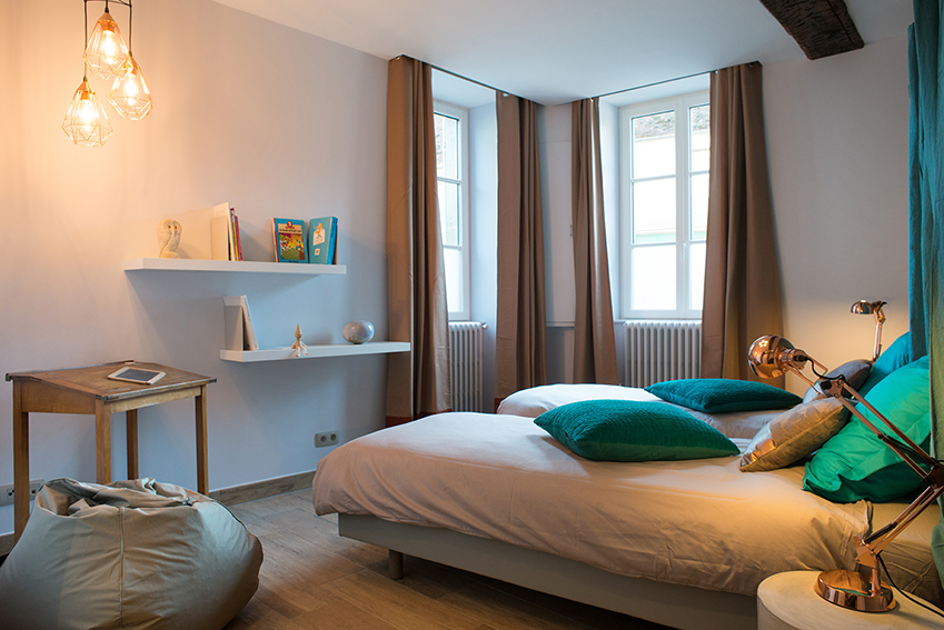 Chambre twin gris turquoise