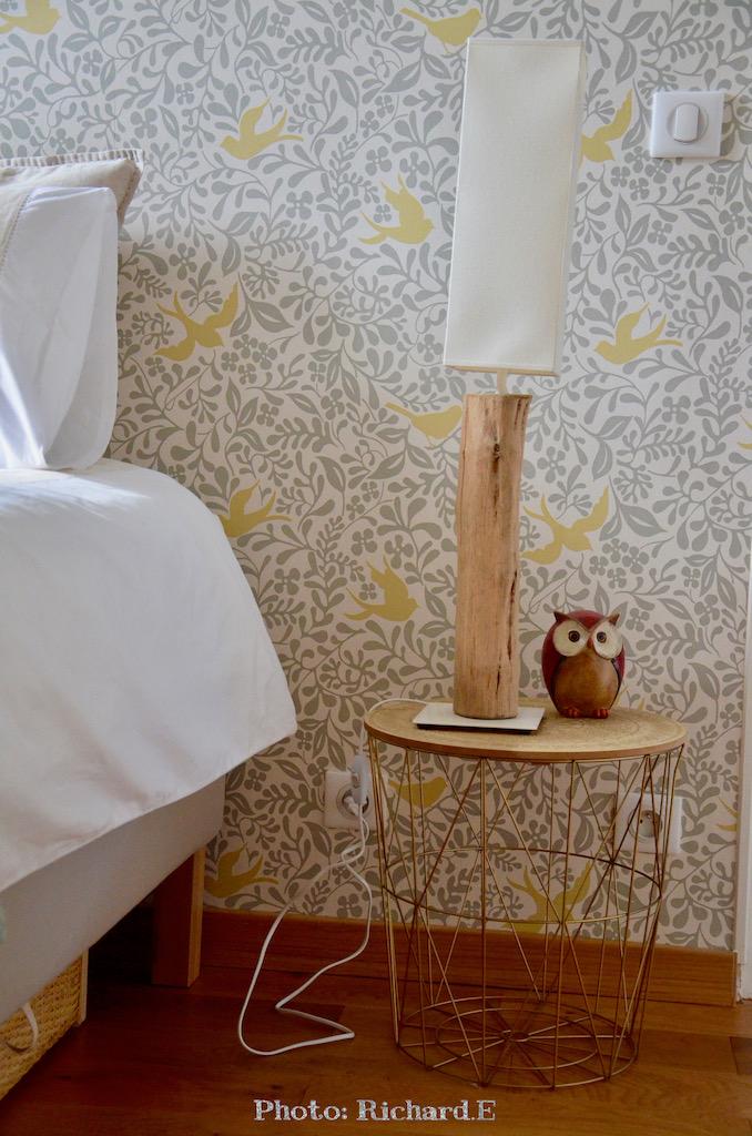 Chevet chouette lampe bois hannah elizabeth interior design