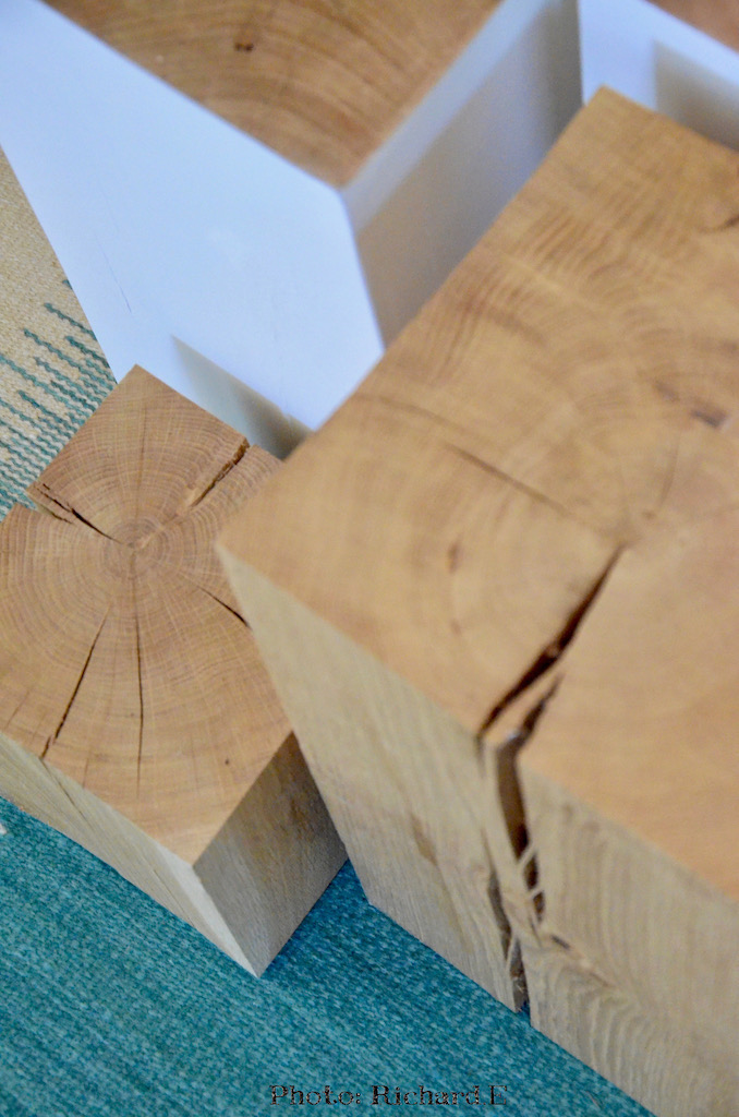 Cube bois tapis turquoise hannah elizabeth interior design