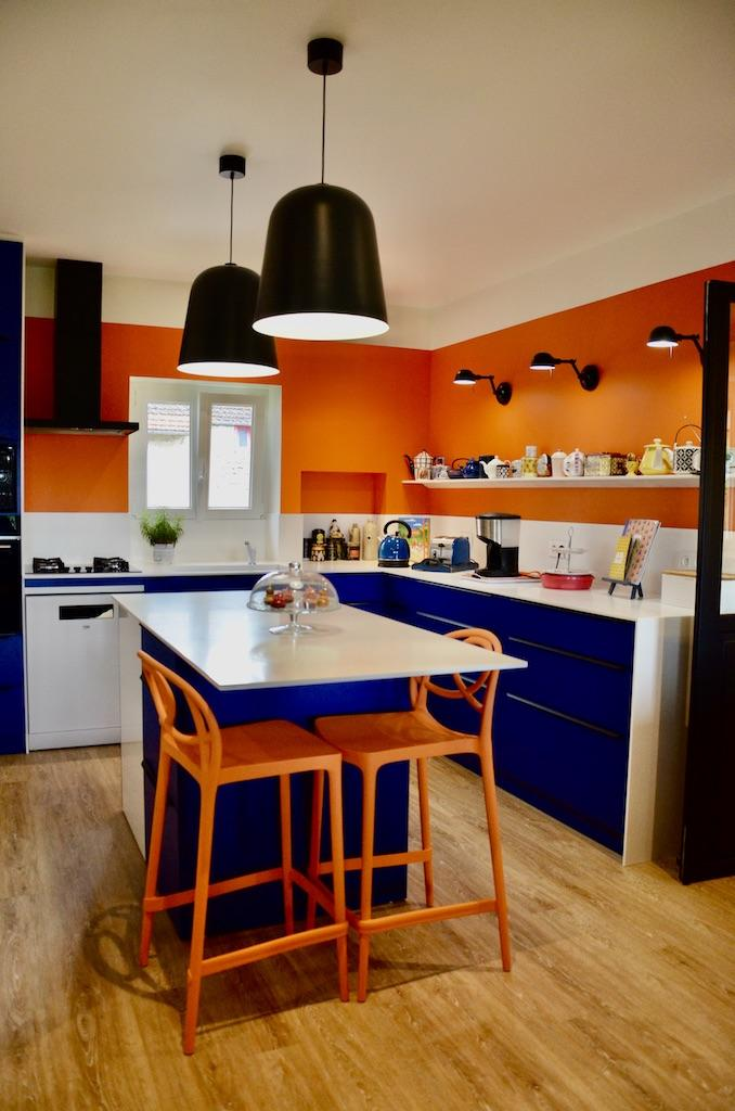 Cuisine bleu blanc orange hannah elizabeth interior design