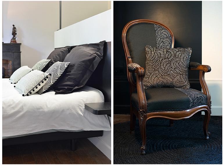 Detail chambre fauteuil lit noir blanc