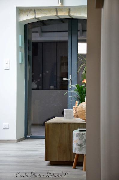 Entrer rideaux bois vert deau hannah elizabeth interior design