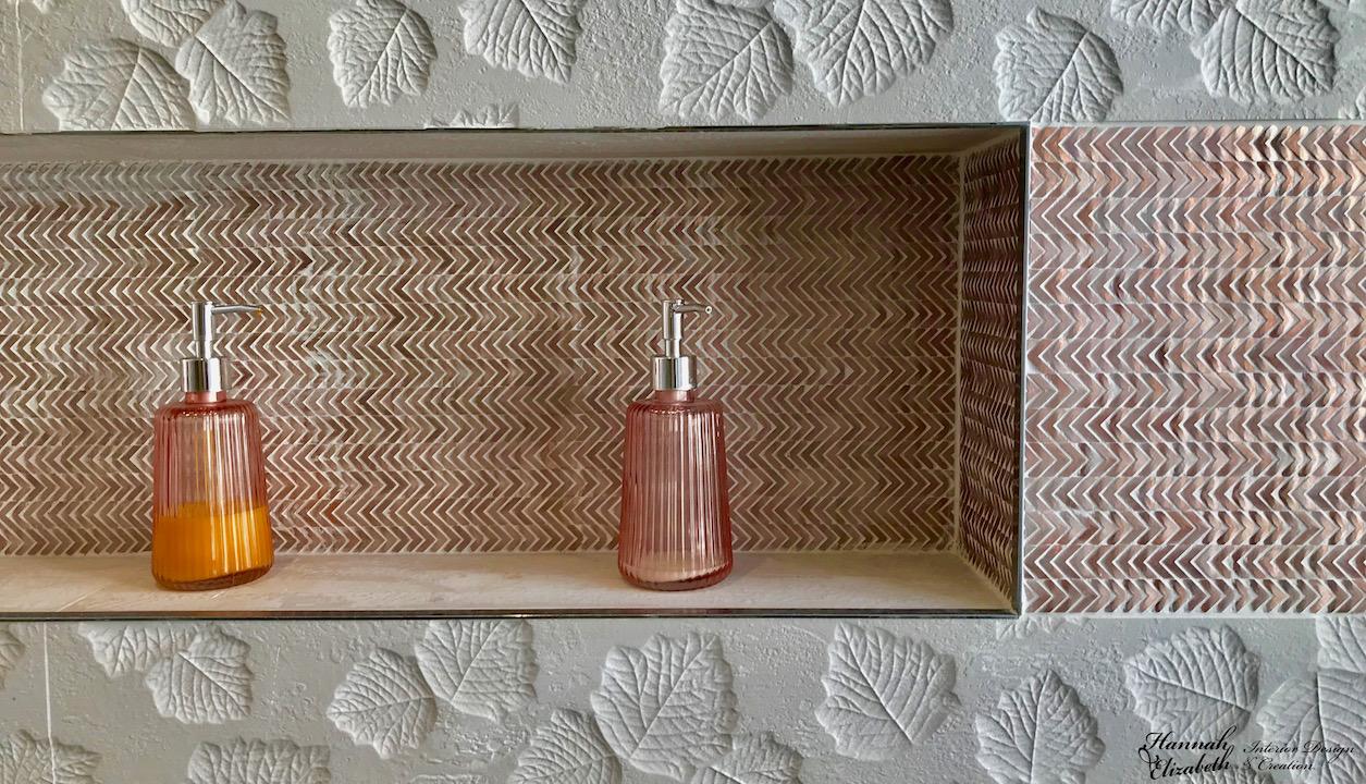 Faience feuilles mosaique cuivre hannah elizabeth interior design