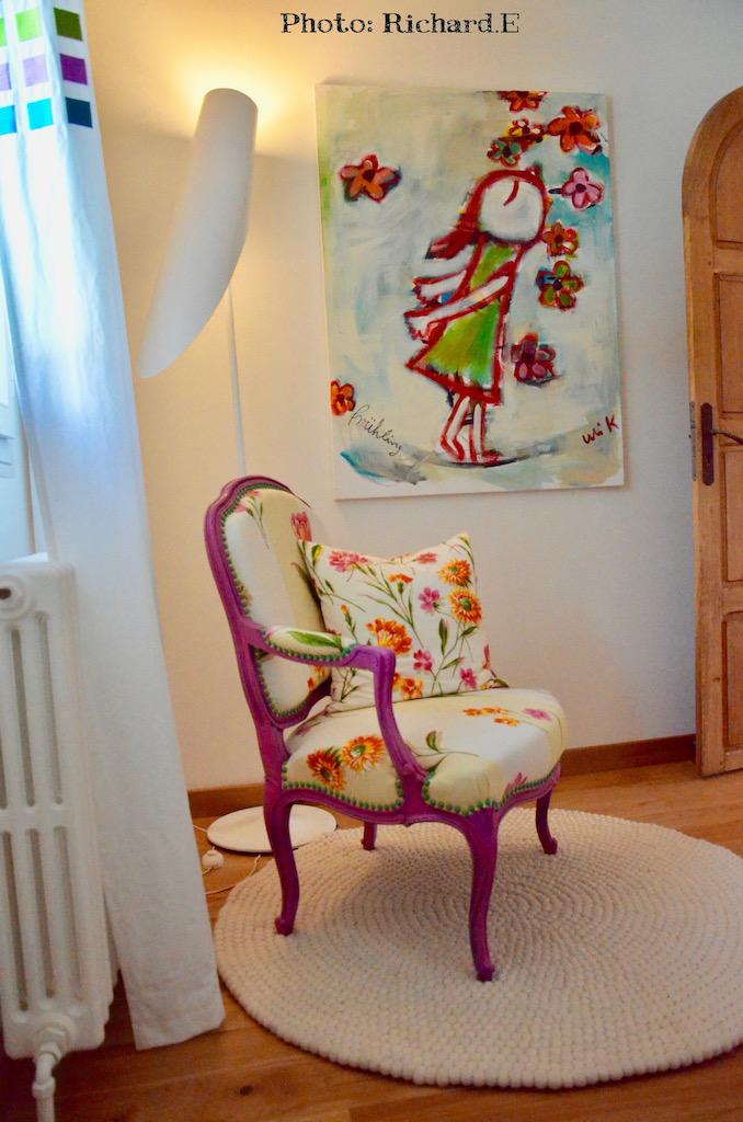 Fauteuil rose tapis laine blanc hannah elizabeth interior design