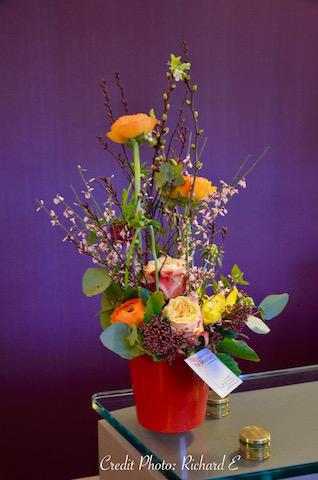Fleurs papeir violet acceuil hannah elizabeth interior design
