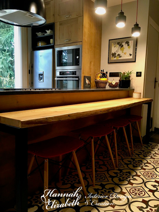 Ilot centrale cuisine bois granite