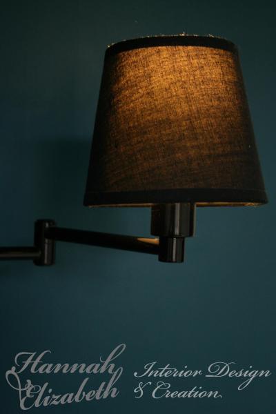 Lampe noir bras articule chambre