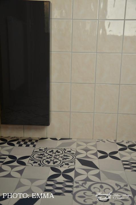 Lino carreaux ciment salle de bain