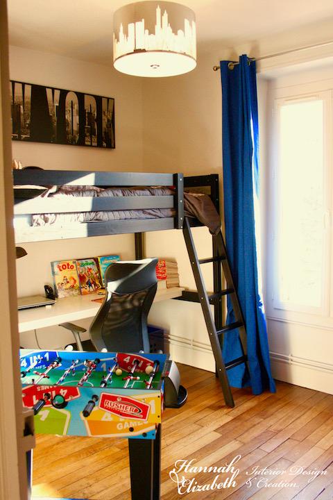 Lit mezzanine chambre garcon basket new york