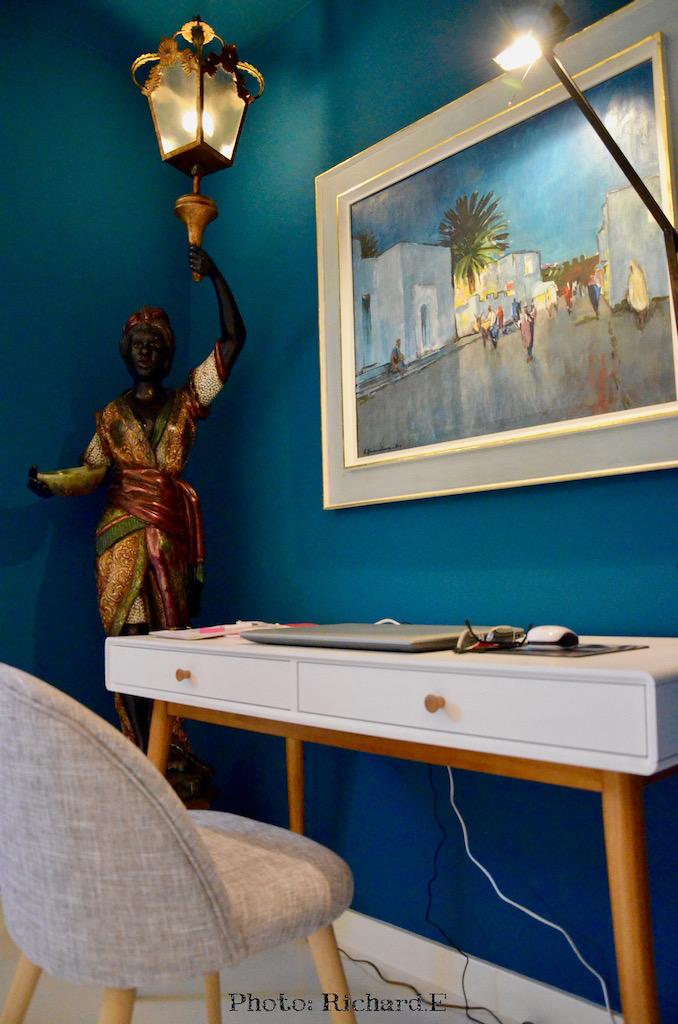 Mur blue paon bureau hannah elizabeth interior design