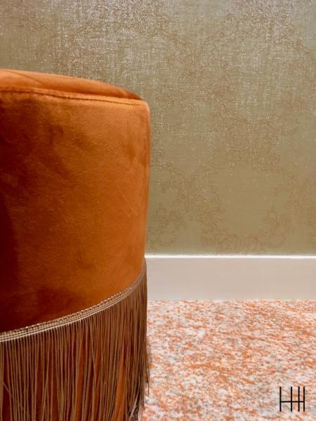 Oouf velours avec fringe orange hannah elizabeth interior design