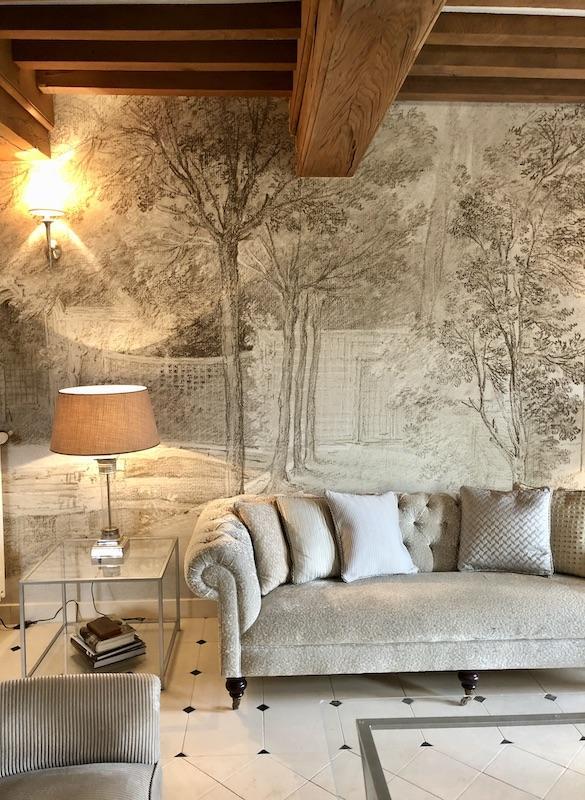 Papier panoramique poutres sables hannah elizabeth interior design