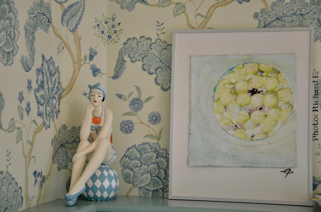 Papier peint floral vert deau salle de bain hannah elizabeth interior design