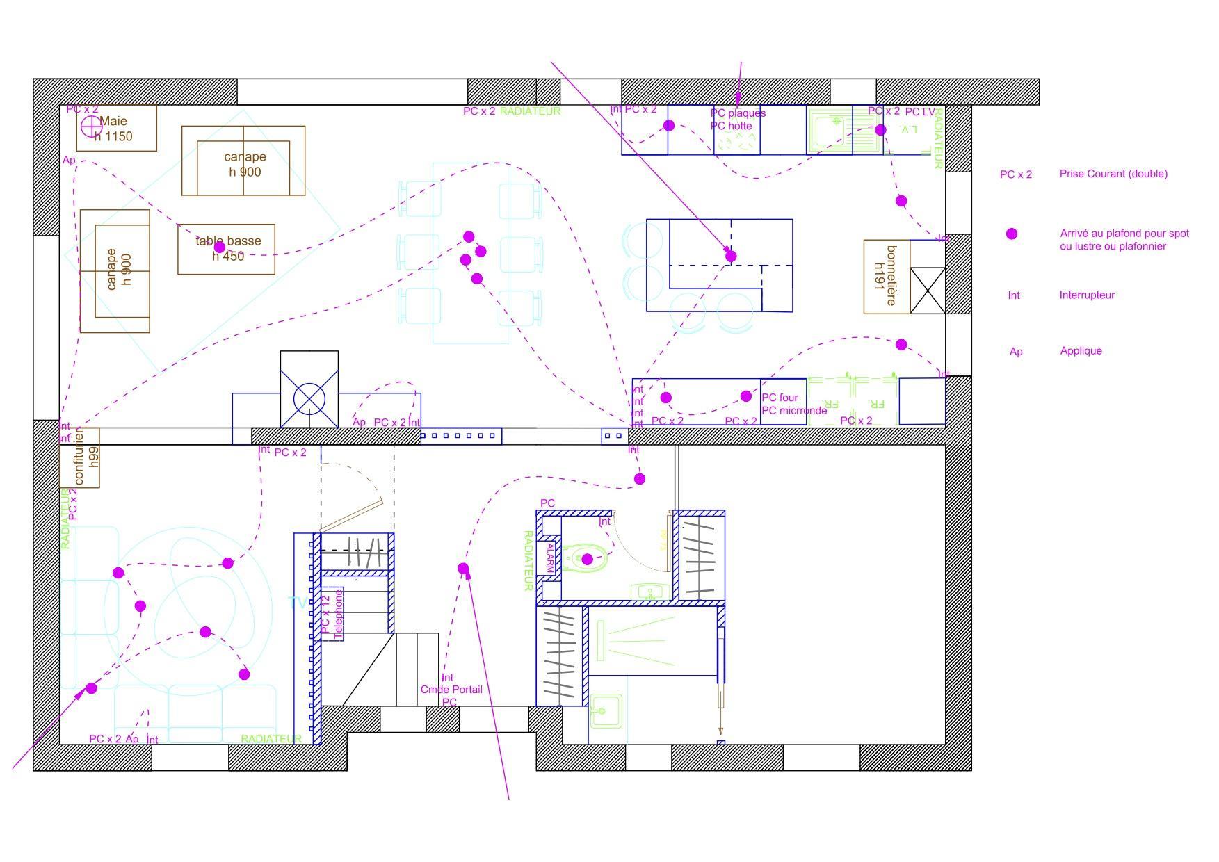Plan final avec elec et elevations cuisine 29 janvier 2020