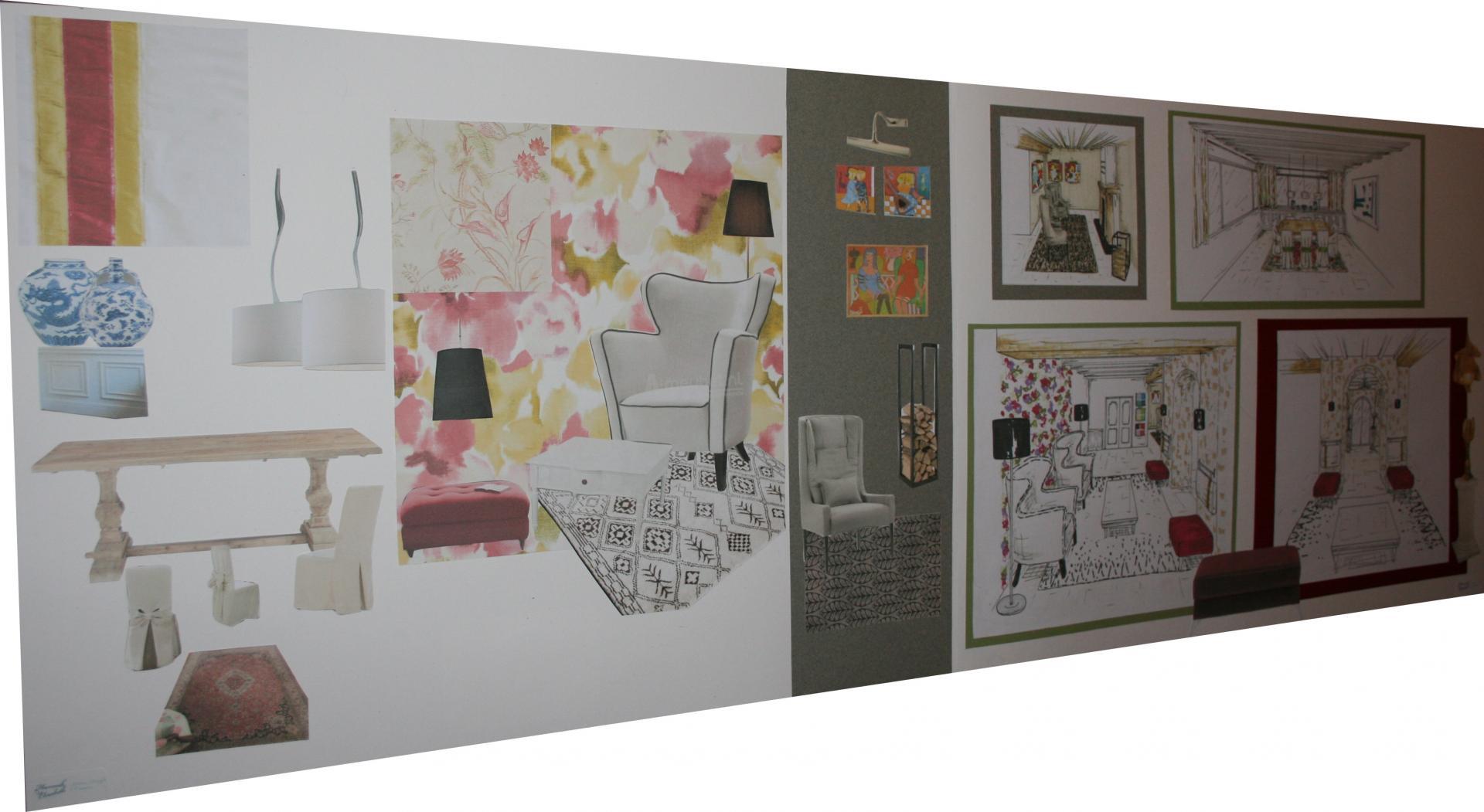 Planche ambiance salon classique contemporain