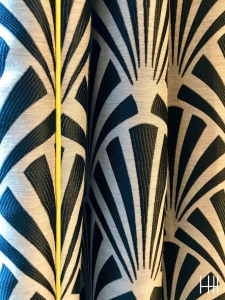 Rideau art deco passepoil jaune hannah elizabeth interior design