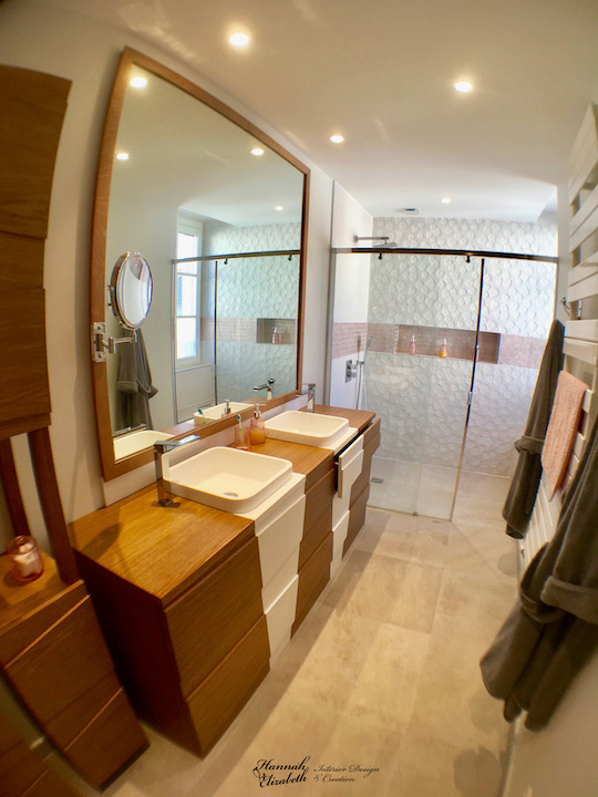 Salle d eau blanc cuivre bois hannah elizabeth interior design