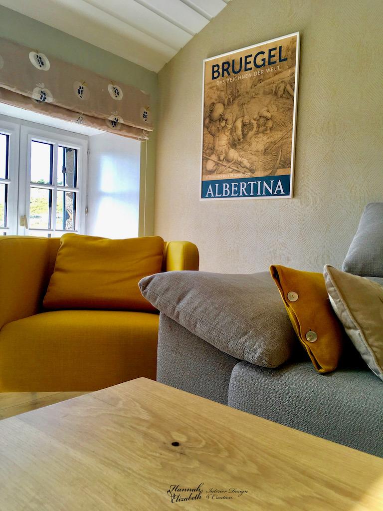 Salon bois jaune hannah elizabeth interior design