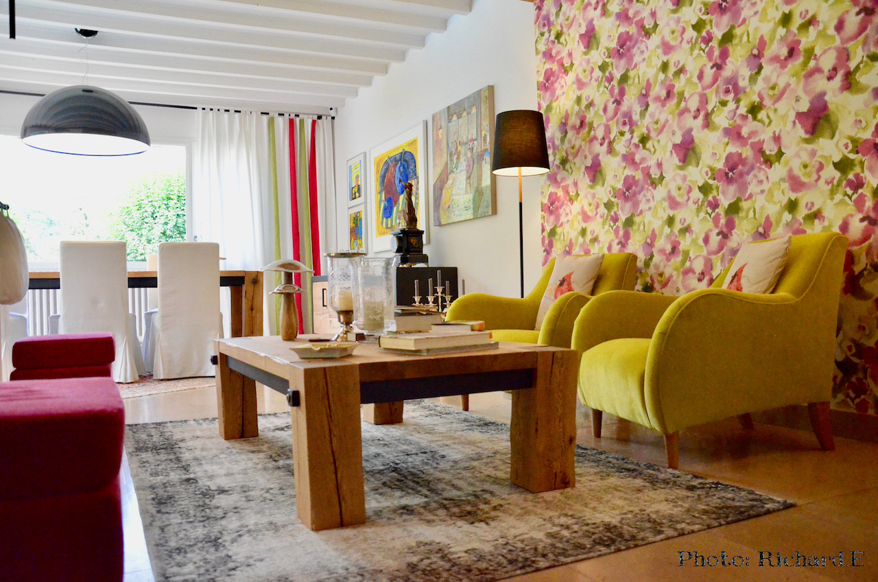 Salon jaune rose hannah elizabeth interior design
