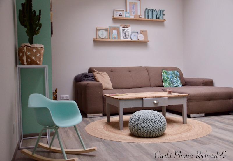 Salon vert deau gris taupe hannah elizabeth interior design