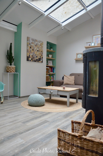 Salon vert deau poele bois veranda hannah elizabeth interior design