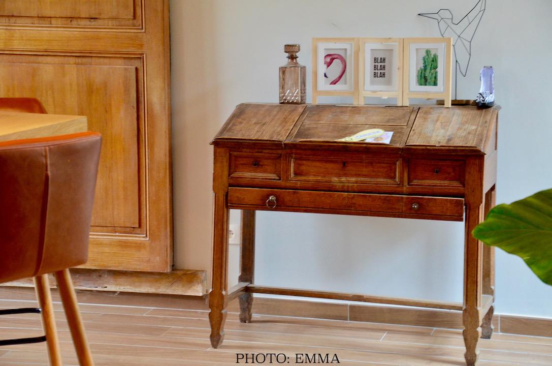 Secretaire ancienne bois entree hannah elizabeth interior design
