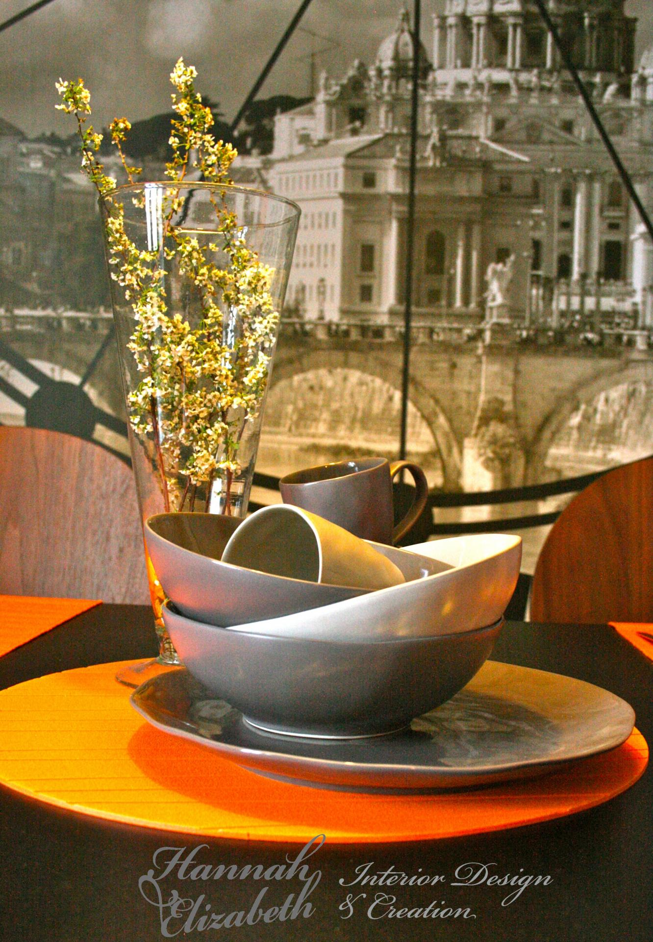 Table a manger contre mur trompe l oeil