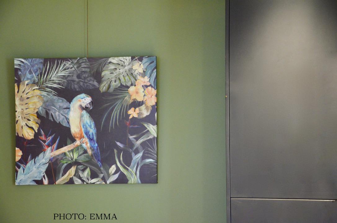Tableau perroquet mur vert hannah elizabeth interior design