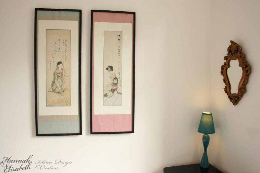 Tableaux japonais chambre turquoise