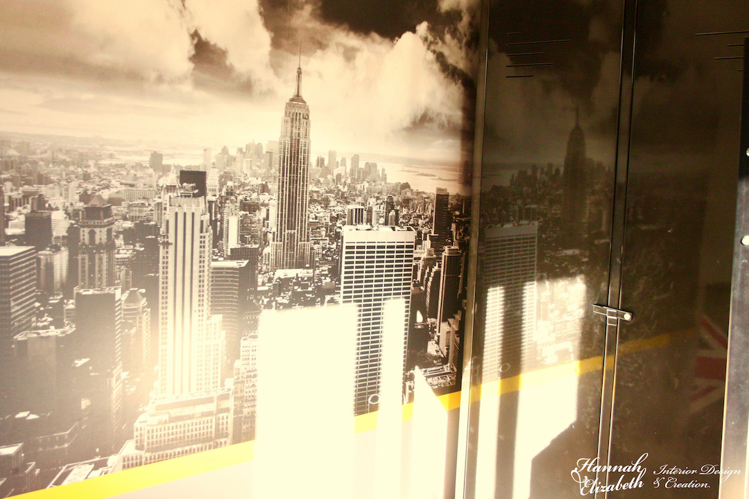 Trompe l oeil mural new york chambre garcon