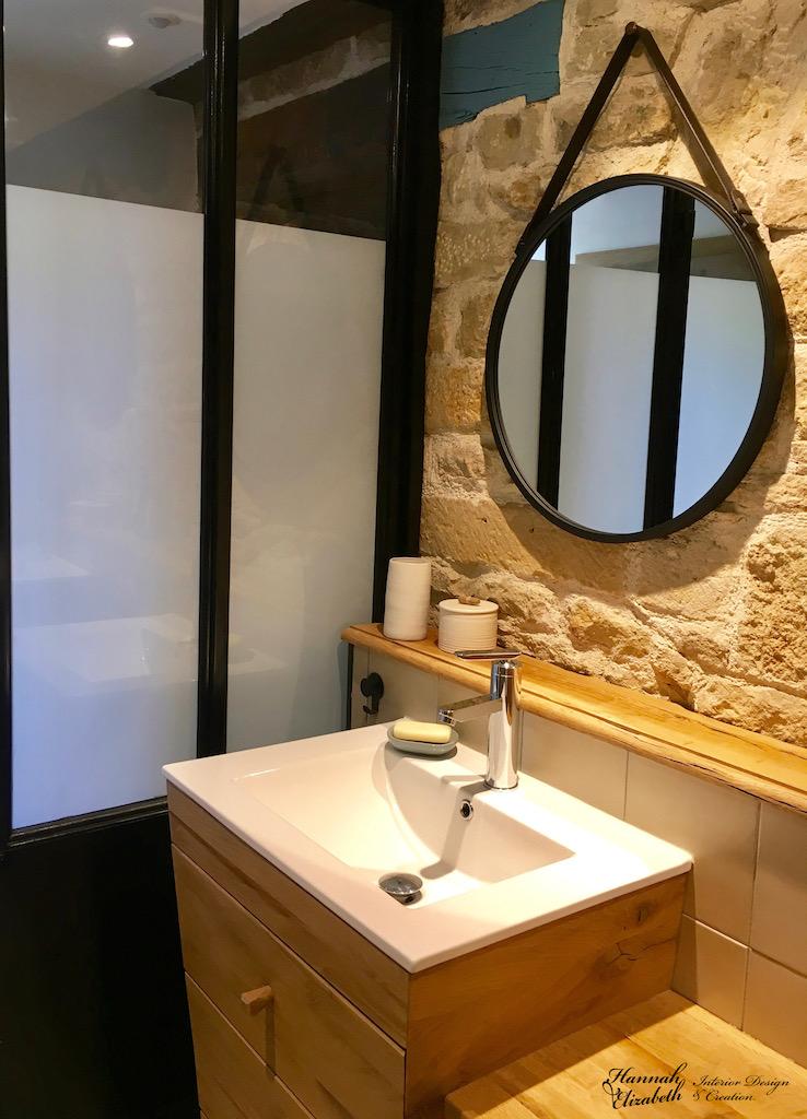 Vasque salle de bian mur pierre verriere hannah elizabeth interior design